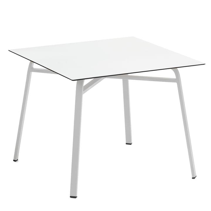Weishäupl - Table Ahoi, 90x90cm, aluminium blanc / High Pressure Laminate blanc