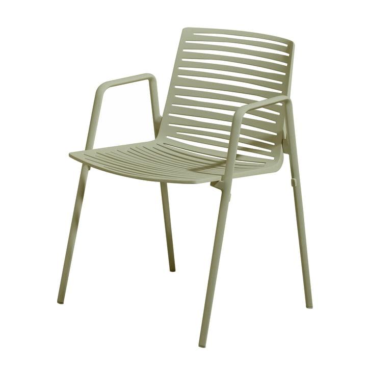 Chaise à accoudoirs Zèbre par Fast en vert olive