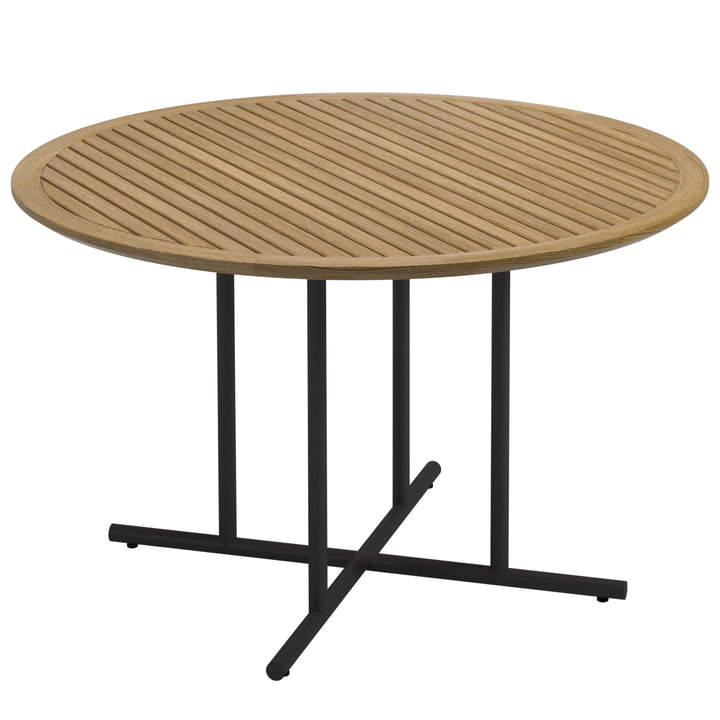 La table Whirl de Gloster, Ø120xH74cm, teck / météore
