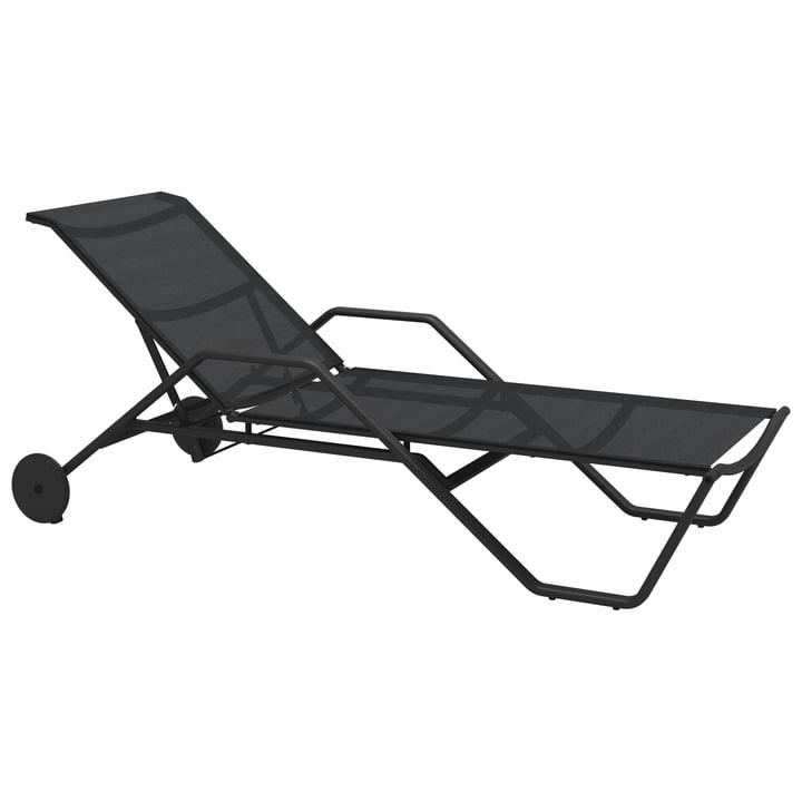 Gloster - Chaise longue 180 avec accoudoirs, météore / anthracite