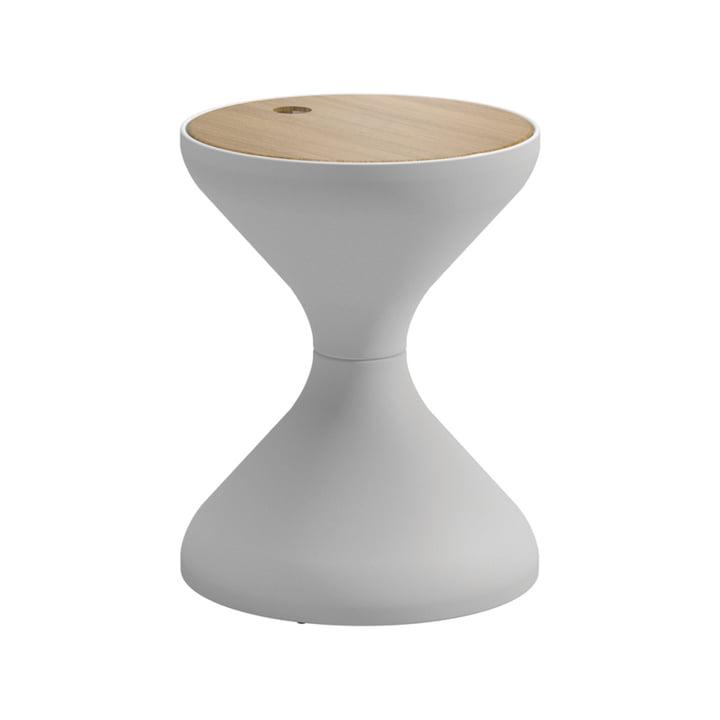 La table d'appoint Bells par Gloster, Ø40xH50,5cm, teck / blanc