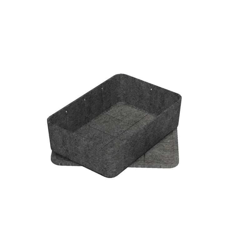 Boîte Inos avec couvercle, 22,3 x 32,2 cm, H 9,5cm de USM Haller en anthracite