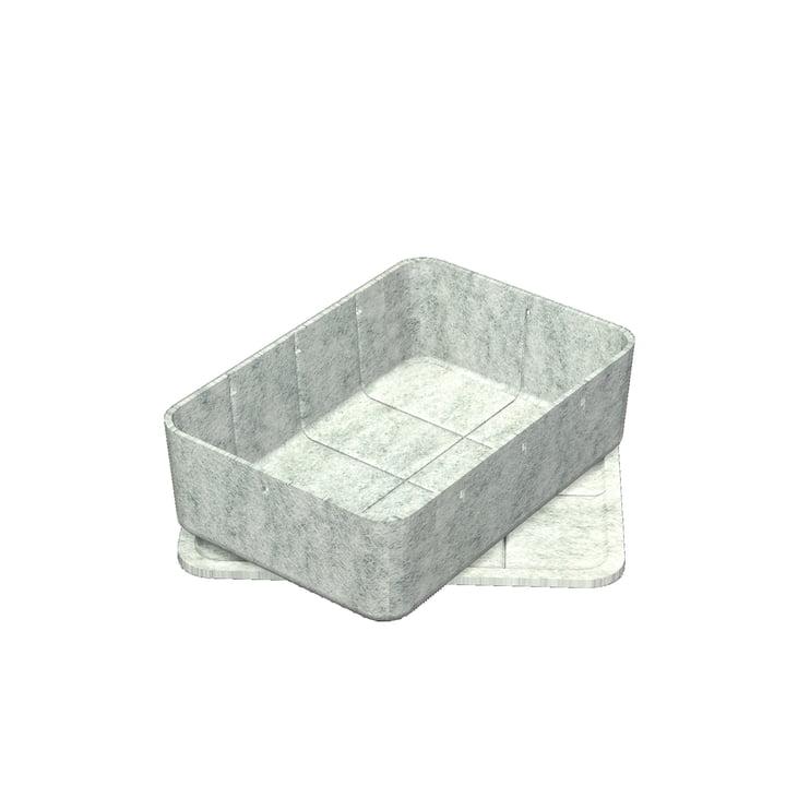 Boîte Inos avec couvercle, 22,3 x 32,2 cm, H 9,5cm de USM Haller en gris clair
