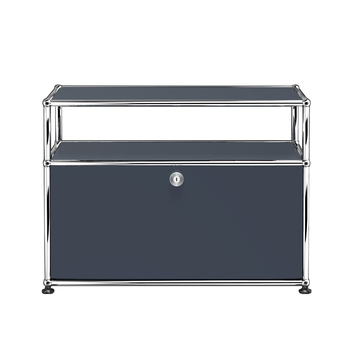 USM Haller - Le meuble TV/Hifi S avec porte à rabat et surfaces de rangement, gris anthracite (RAL 7016)