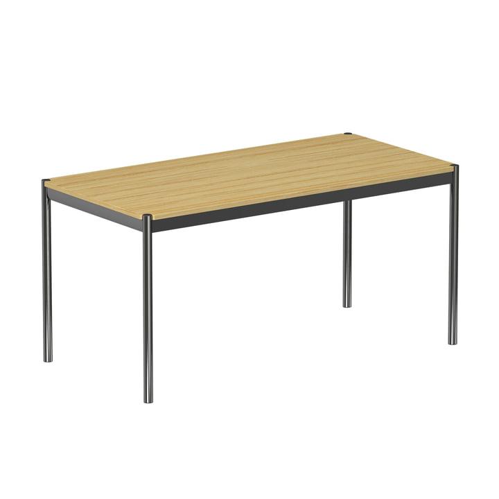La table, 150 x 75cm, piètement en acier chromé/plateau plaqué chêne, laqué naturel de USM Haller