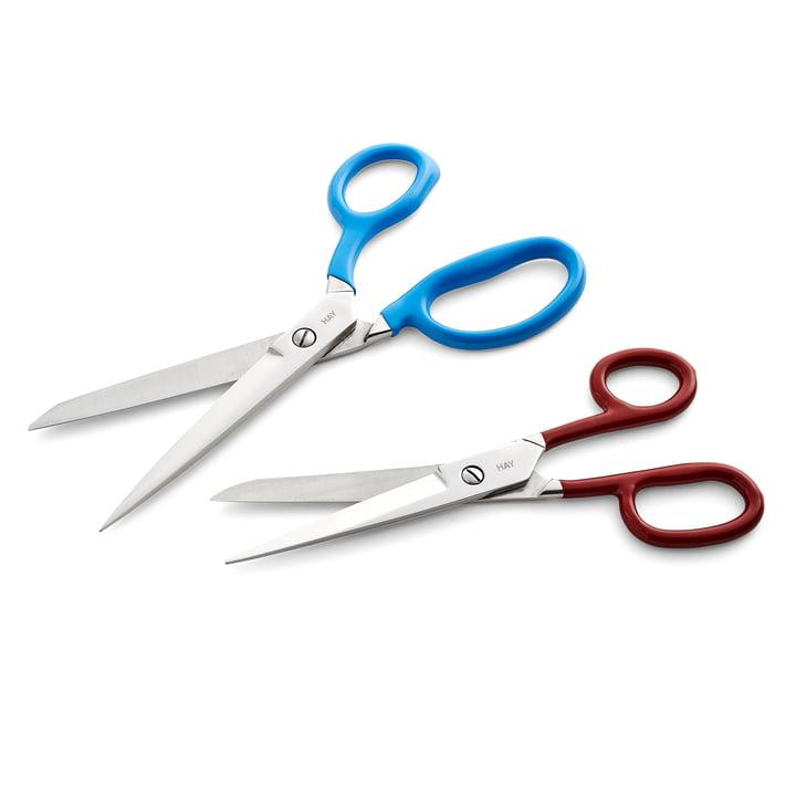 Les ciseaux Grip M, rouge / ciseaux Grip L, bleu de Hay
