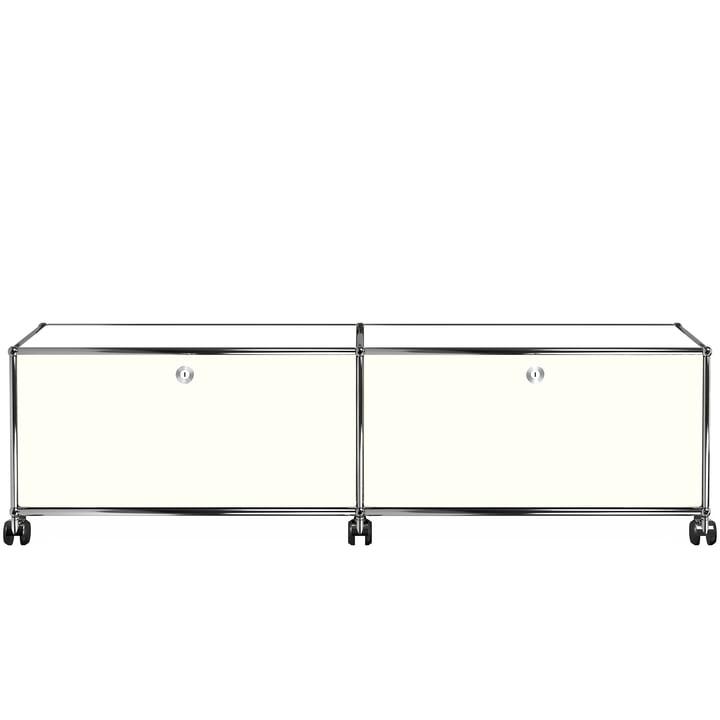 USM Haller - Le meuble TV/Hifi Lowboard M avec deux portes à rabat et roulettes, blanc pur (RAL 9010)