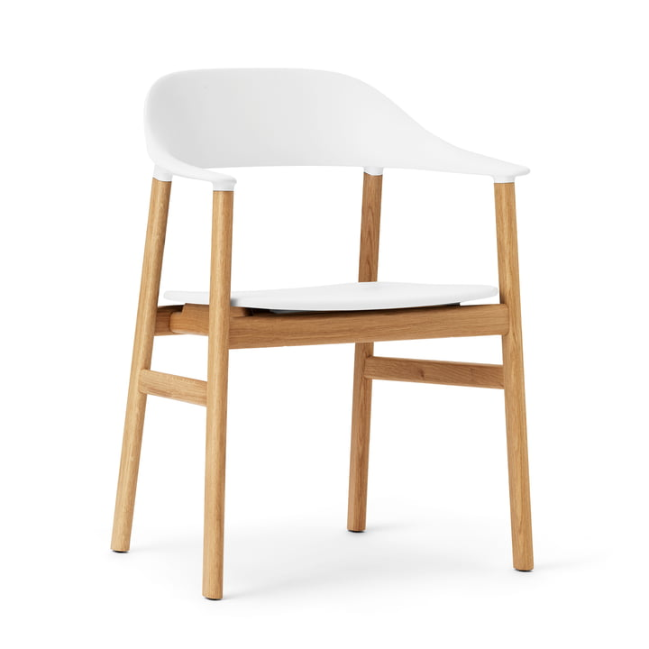 Normann Copenhagen - Chaise à accoudoirs Herit, chêne / blanc