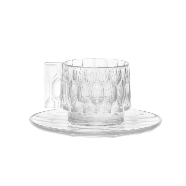 La tasse à expresso Jellies et la sous-tasse de Kartell en transparent