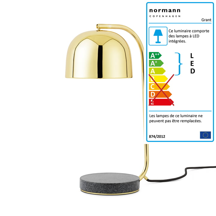 Normann Copenhagen -Lampe de table Grant LED, laiton