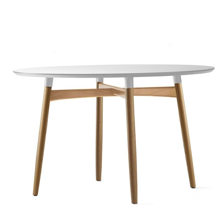 Carl Hansen - Table BA103 Preludia Ø120cm, stratifié blanc / chêne