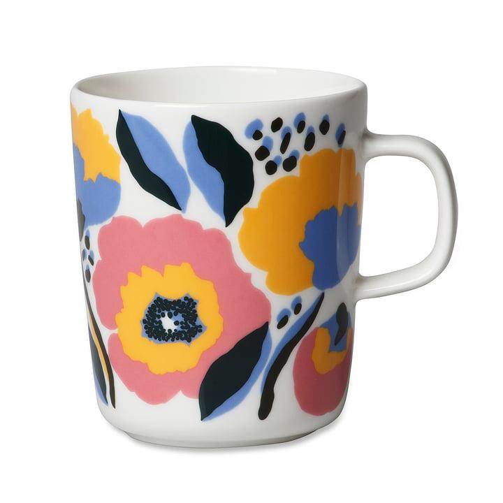 Le Marimekko - Oiva Rosarium tasse avec anse, 250 ml en blanc / rouge / jaune / bleu