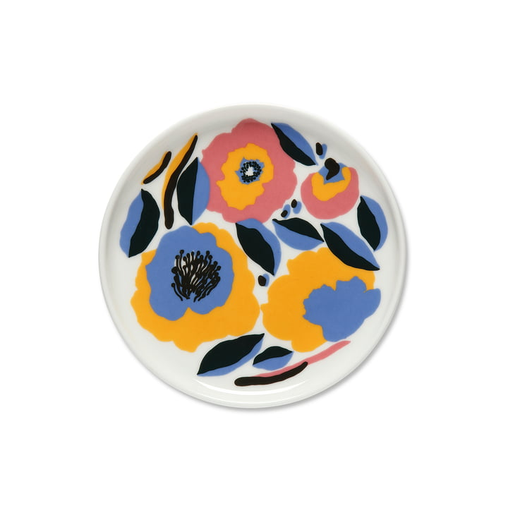 La plaque Marimekko - Oiva Rosarium, Ø 1 3. 5 cm en blanc / rouge / jaune / bleu