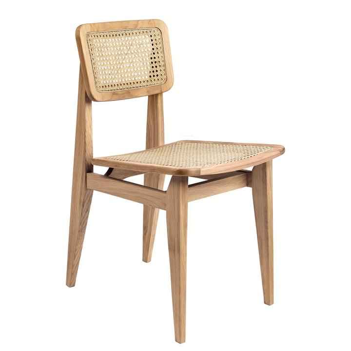 Gubi - Chaise C Dining Chair, All French Cane, chêne huilé