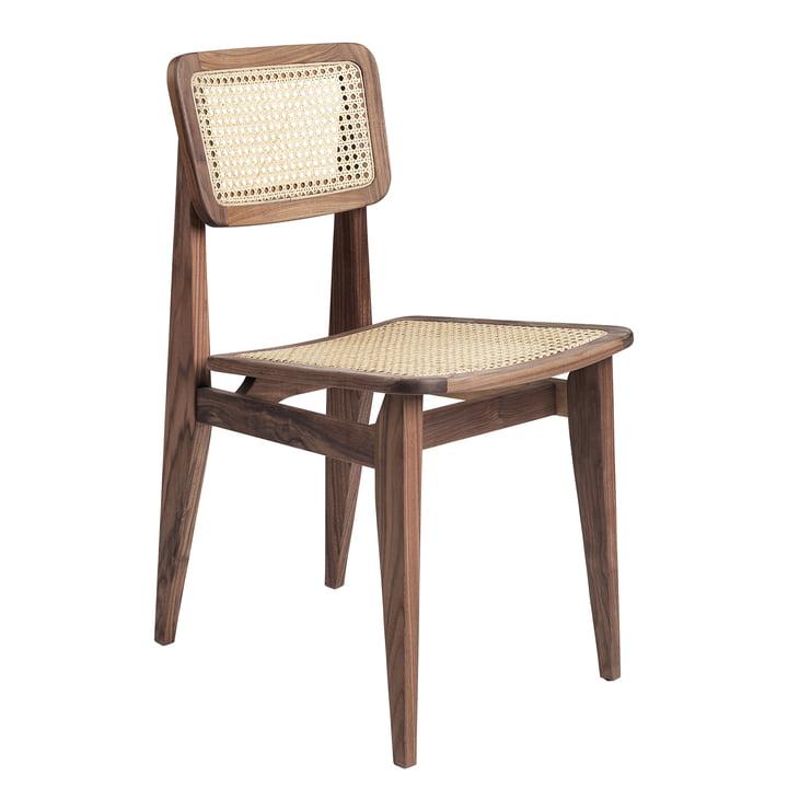 Gubi - Chaise C Dining Chair, All French Cane, noyer d'Amérique huilé