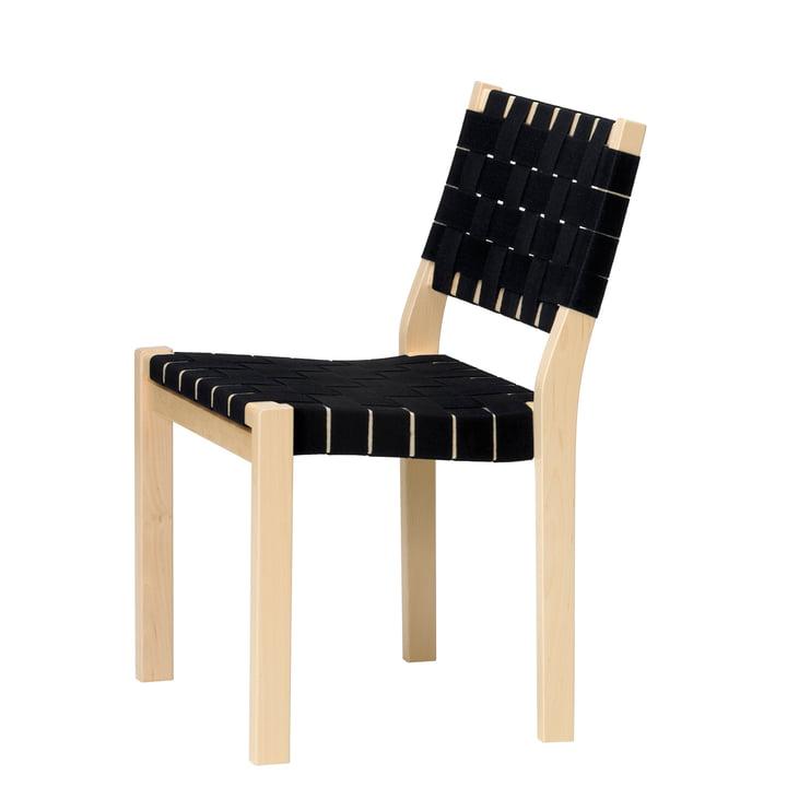 Chaise 611 by Artek en merisier verni clair / sangles en lin noir