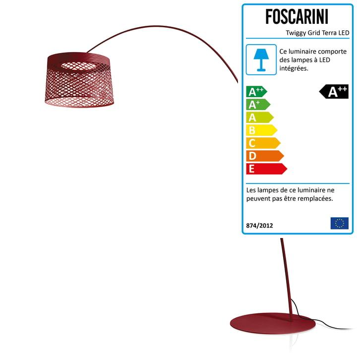 Foscarini - Luminaire d'extérieur LED Twiggy Grid Terra, carminio
