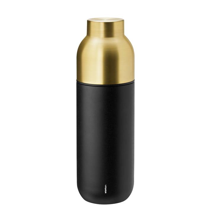 Le Stelton - Collar Bouteille thermos 0,75 l en noir / laiton