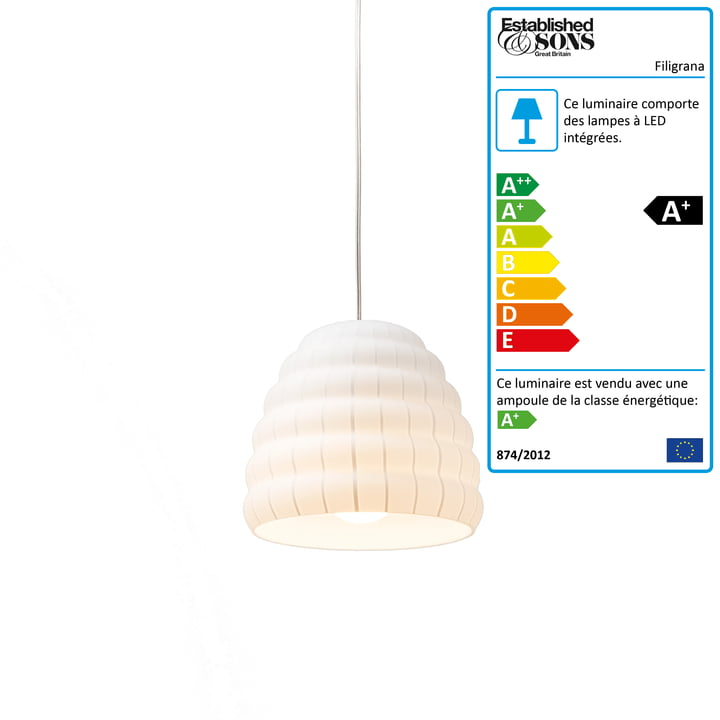 Established & Sons - Suspension lumineuse Filigrana S1 Beehive, Ø 160 mm, blanc / blanc