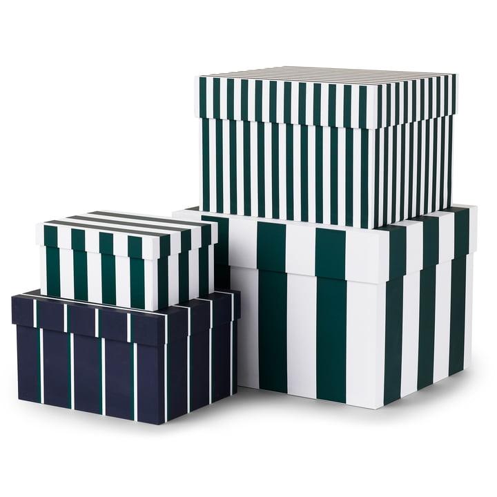 Tivoli - Boîtes de bonbons à rayures (lot de 4), vert jardin