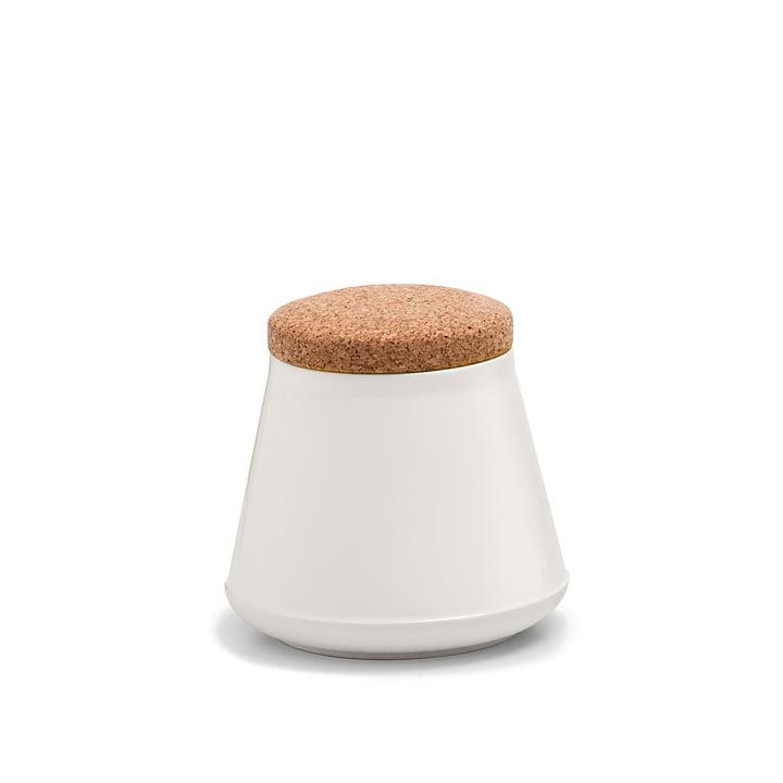 Established & Sons- Récipient en céramique Store avec couvercle, H 14 cm, gloss natural white / matt white