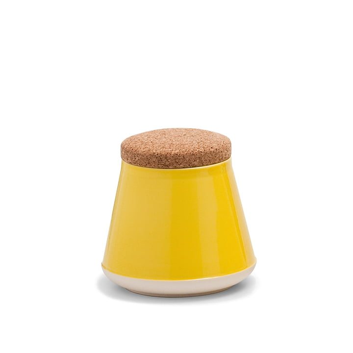 Established & Sons - Récipient en céramique Store avec couvercle, H 14 cm, gloss yellow / matt white