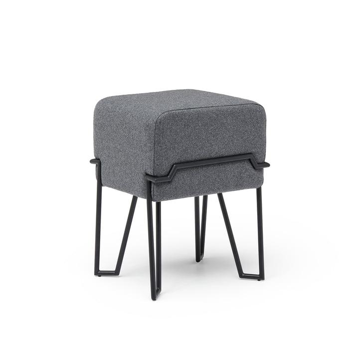 Tabouret de bokk H 52 cm, noir / gris par Puik