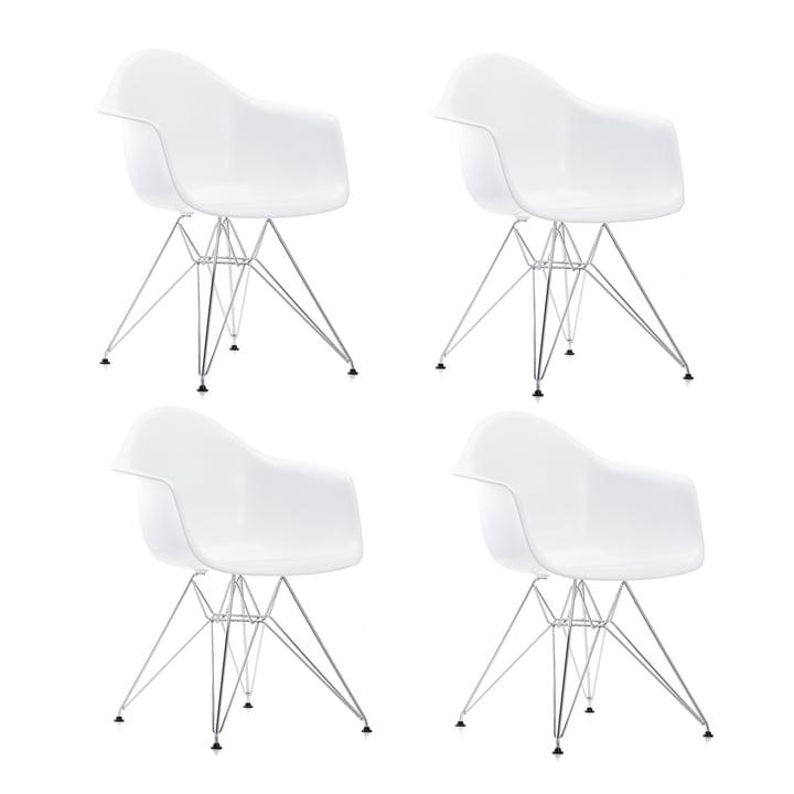 Action : 4 x Eames Fauteuil en plastique DAR de Vitra en chrome / blanc