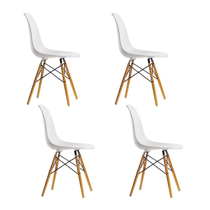 Offre spéciale : 4 x Eames Plastic Side Chair DSW de Vitra en érable jaunâtre / blanc
