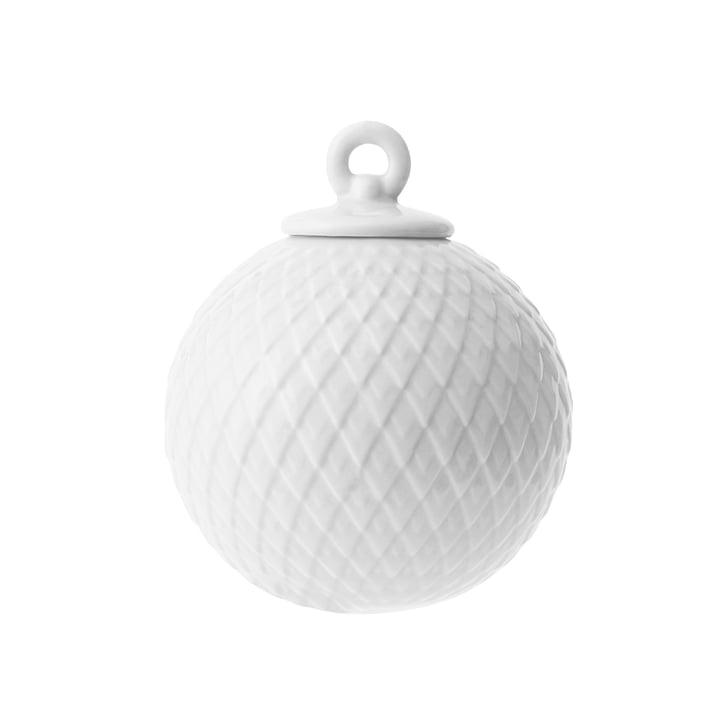 Boule décorative Rhombe en blanc par Lyngby Porcelæn