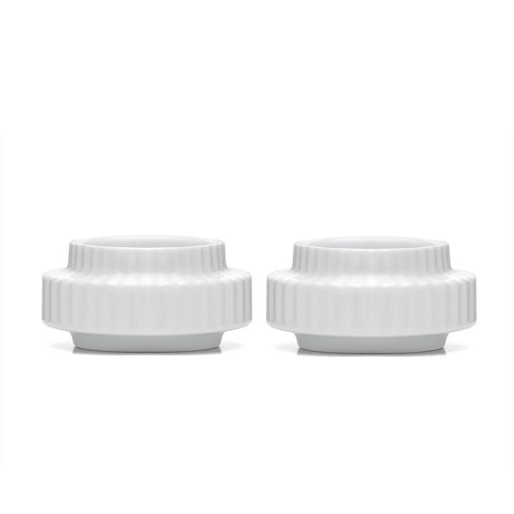 Porte-bougie à réchaud Ø 6,5 cm en blanc (lot de 2) de Lyngby Porcelæn