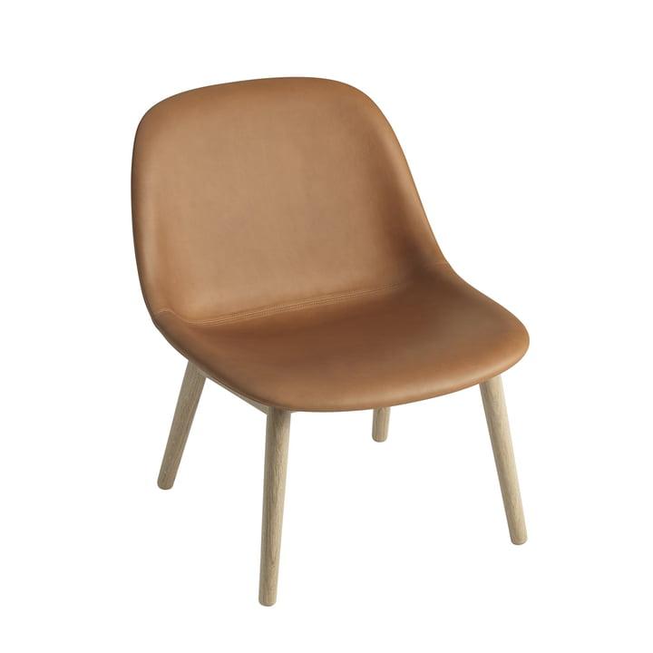 Fiber Lounge Chair Wood Base Muuto en chêne / cuir de soie Cognac