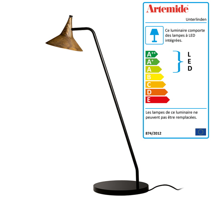 Lampe de table LED Unterlinden - Artemide en noir et laiton