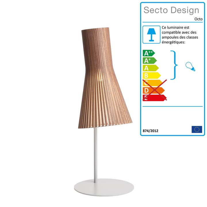 Secto 4220 lampe de table par Secto en noyer