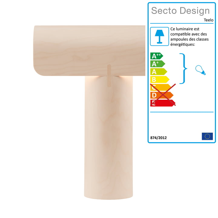 Teelo 8020 Lampe de table de Secto en bouleau
