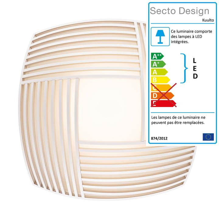 Kuulto 9100 Applique murale et plafonnier à LED de Secto en blanc