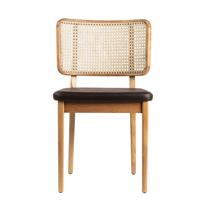 Chaise en osier de red edition chêne nature / cuir noir