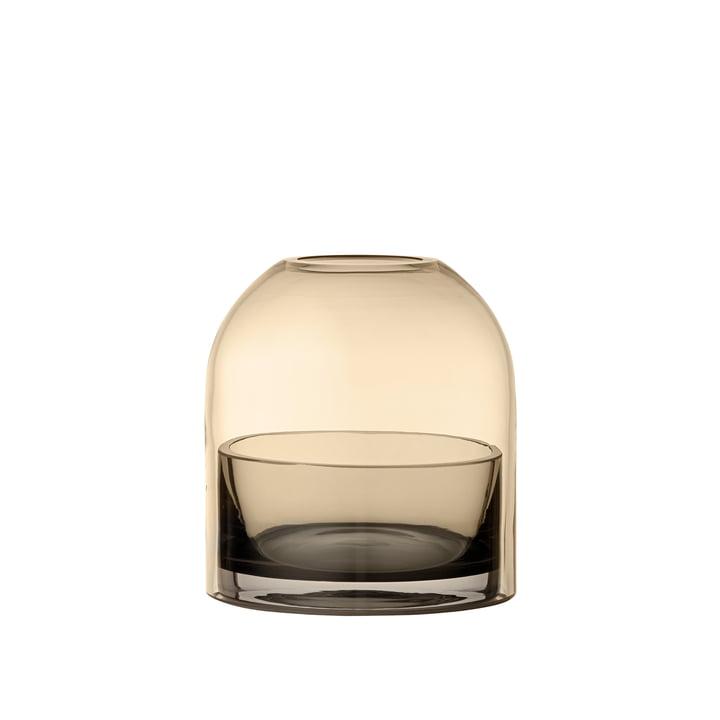 Porte-bougie à thé Tota, Ø 9,3 x H 10,3 cm en noir / ambre de AYTM