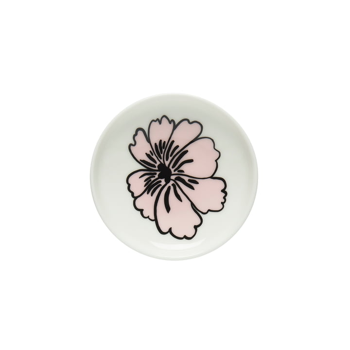 Assiette Oiva Eläkööön Elämä, Ø 5 cm en blanc / rose par Marimekko