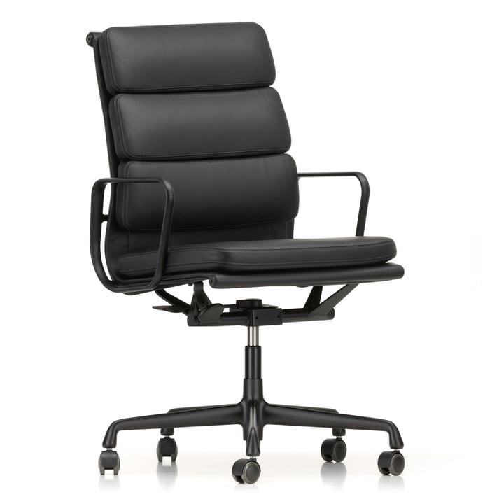 EA 219 Soft Pad fauteuil de bureau enduit noir foncé avec accoudoirs par Vitra avec cuir Premium nero (roulettes à plancher dur)
