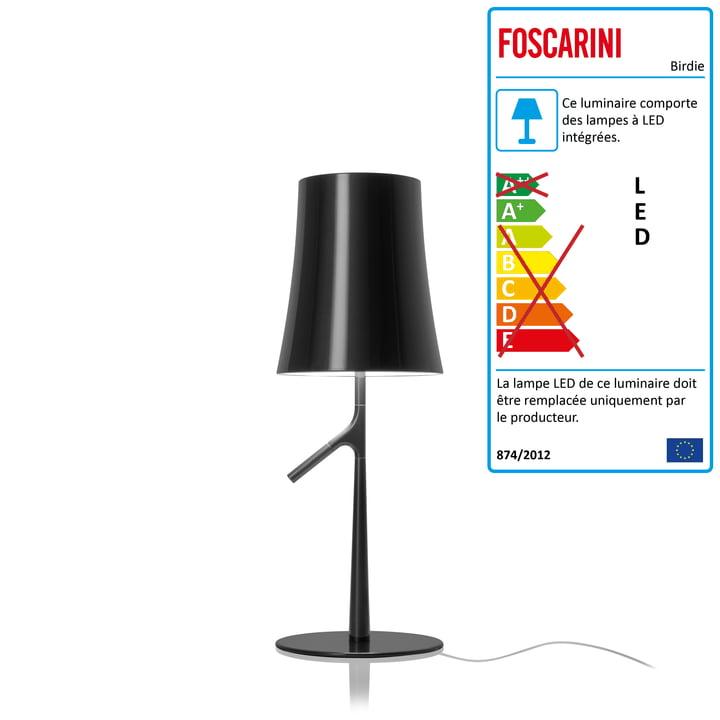 Lampe de table LED Birdie Piccola avec dimmer de Foscarini en graphite
