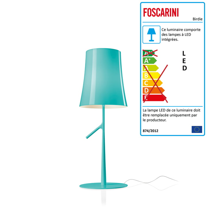Lampe de table LED Birdie Piccola avec dimmer par Foscarini en aqua