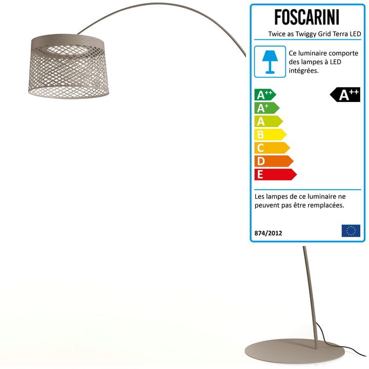 Lampe d'extérieur Twiggy Grid Terra de Foscarini en gris gris