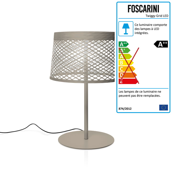 Lampe de table à LED Twiggy Grid XL de Foscarini en grise