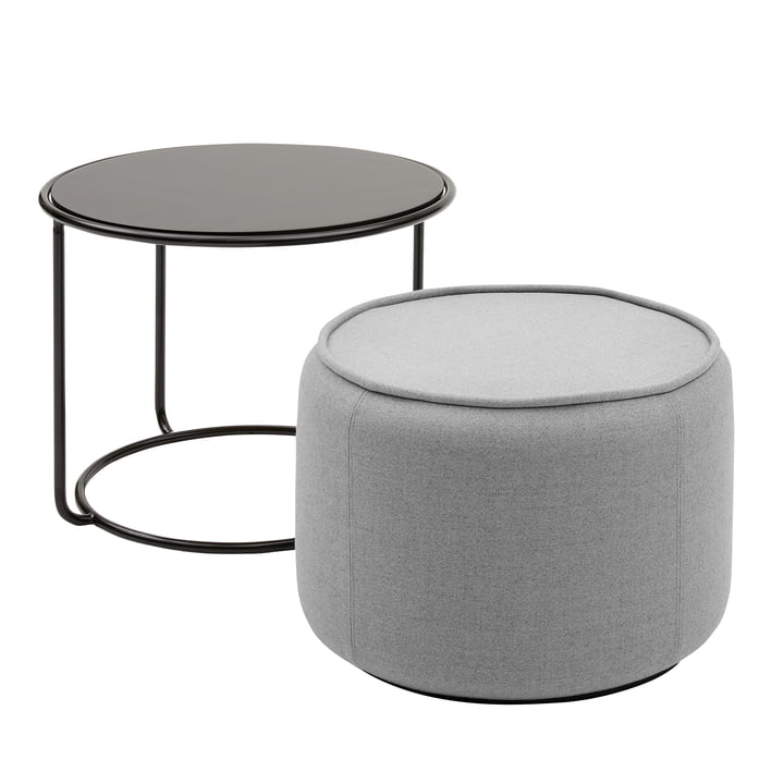 Tom Pouf et table d'appoint Ø 58 x H 47 cm de Softline en noir / Vision gris clair (445)