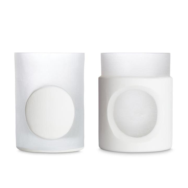 Vase sculpté par Tom Dixon en blanc dans un ensemble de 2