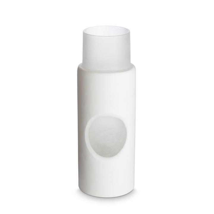 Vase sculpté par Tom Dixon, Ø 5 x H 23 cm en blanc