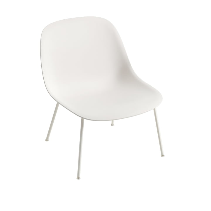 Fiber Lounge Chair Tube Base en fibre de verre blanc par Muuto