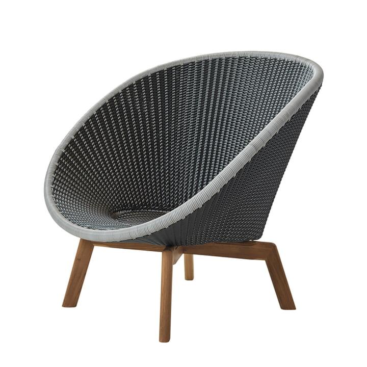 Chaise Peacock Lounge Chair (5458) par Cane-line en teck / gris / gris / gris clair