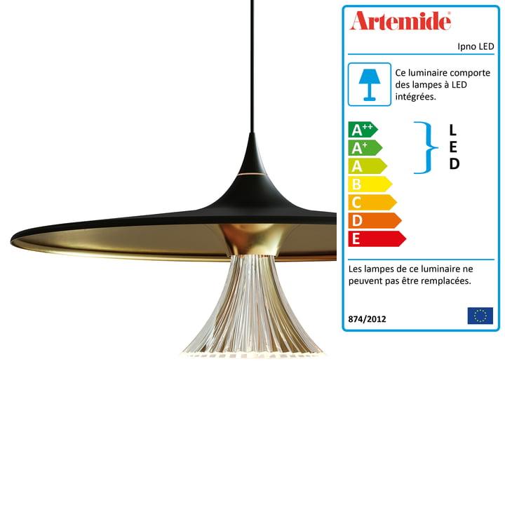 Pendentif lumineux Ipno LED d'Artemide en noir / or